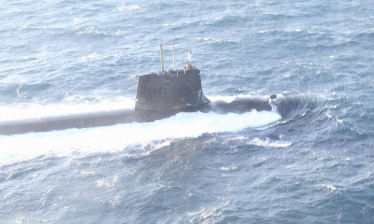 JS Soryu bị hư hại nặng sau vụ va chạm hôm 8/2. Ảnh: Cảnh sát biển Nhật Bản.