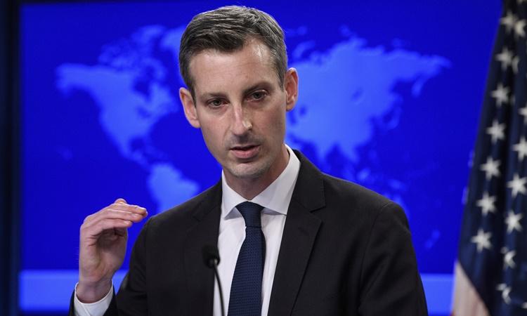 Phát ngôn viên Bộ Ngoại giao Mỹ Ned Price tại một cuộc họp báo ở Washington ngày 2/2. Ảnh: AP.