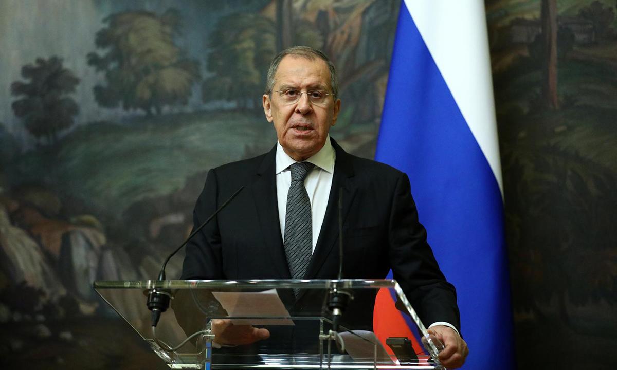 Ngoại trưởng Nga Sergei Lavrov tại một cuộc họp báo ở Moskva hôm 5/2. Ảnh: Reuters.