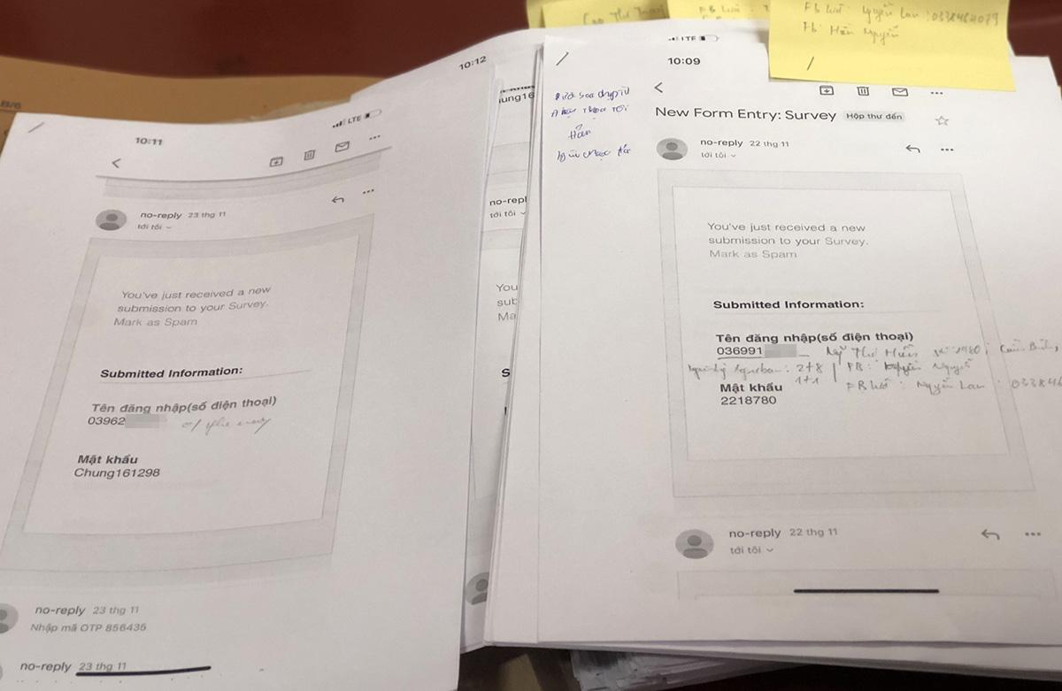 Dữ liệu tài khoản được chuyển về email của nhóm nghi phạm. Ảnh: Phạm Dự.