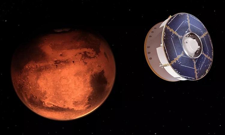 Mô phỏng tàu Mars 2020 mang robot Perseverance bay tới gần sao Hỏa. Ảnh: NASA.