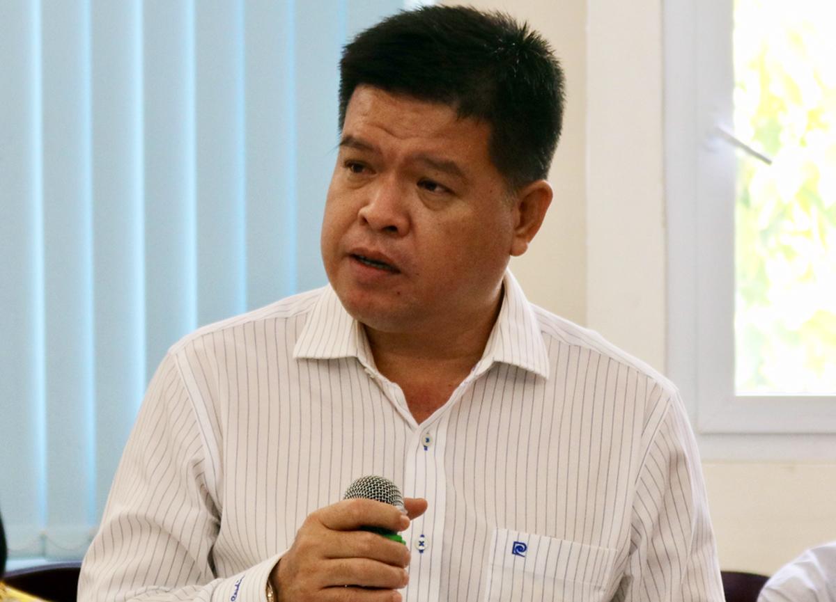 Ông Bùi Hoà An, Phó giám đốc Sở Giao thông Vận tải nói về chương trình thí điểm kiểm soát khí thải xe máy tại TP HCM hôm 27/1. Ảnh: Gia Minh.