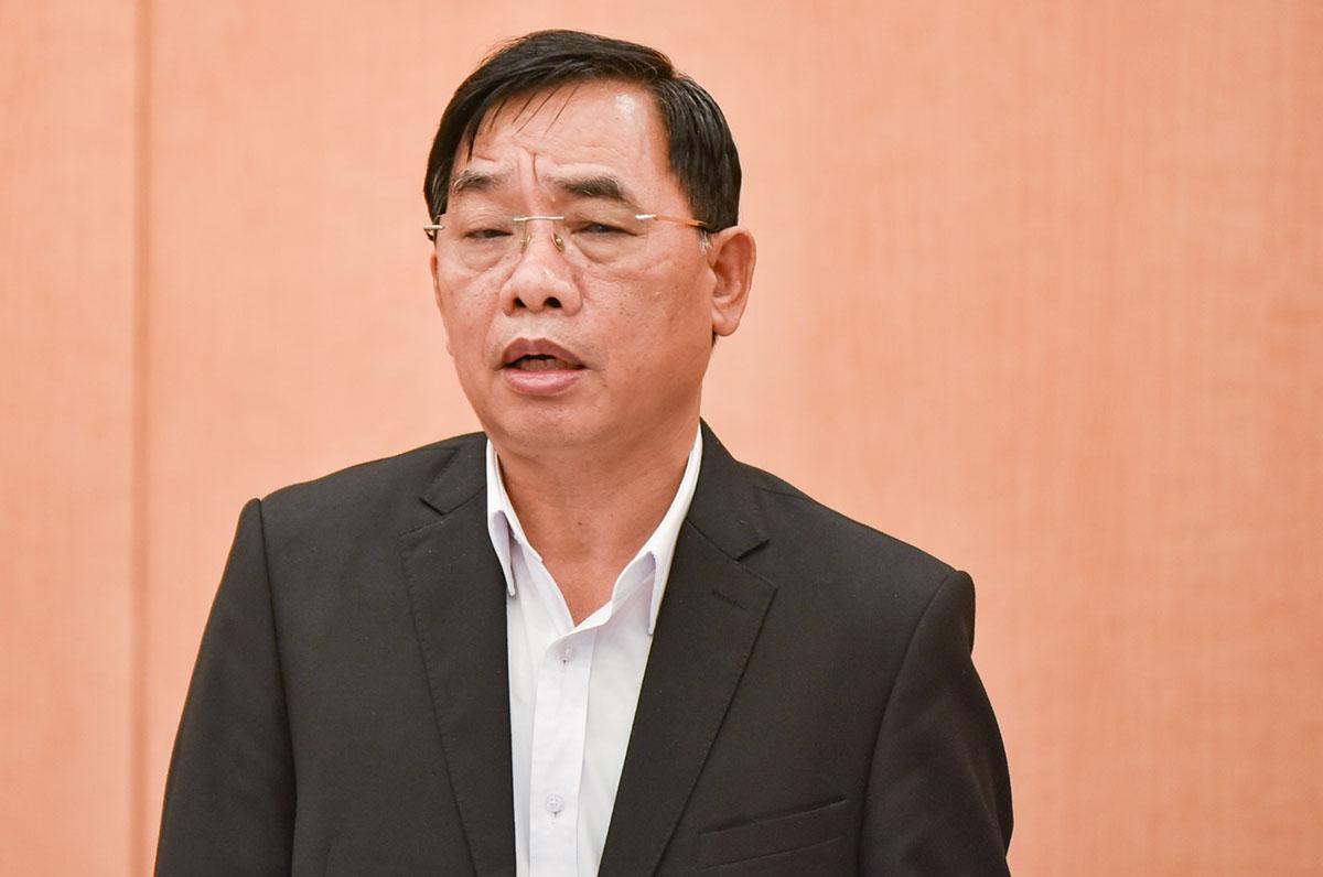 Giám đốc Sở y tế Hà Nội Nguyễn Khắc Hiền phát biểu tại họp Ban chỉ đạo phòng, chống dịch thành phố. Ảnh: Trung Nguyên.