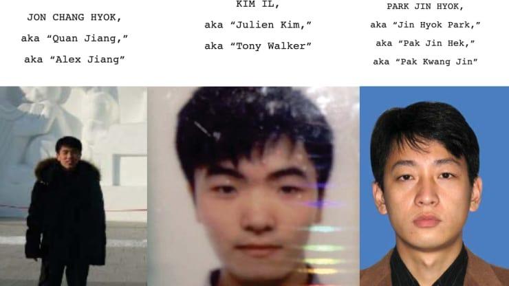 Ba tin tặc Triều Tiên bị Mỹ truy tố (từ trái qua phải): Jon Chang Hyok, Kim Il và Park Jin Hyok. Ảnh: Bộ Tư pháp Mỹ