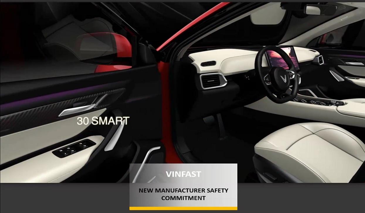 Một mẫu xe của VinFast trong hạng mục trao giải của tổ chức Asean NCAP. Ảnh chụp màn hình.