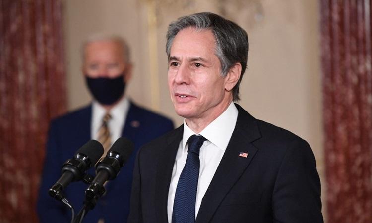 Ngoại trưởng Mỹ Antony Blinken tại cuộc họp báo ở Bộ Ngoại giao hôm 4/2. Ảnh: AFP.