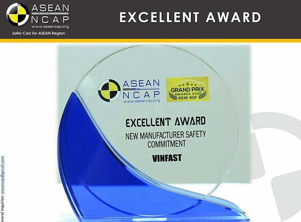 Giải thưởng của VinFast được Asean NCAP trao tặng. Ảnh: VinFast.