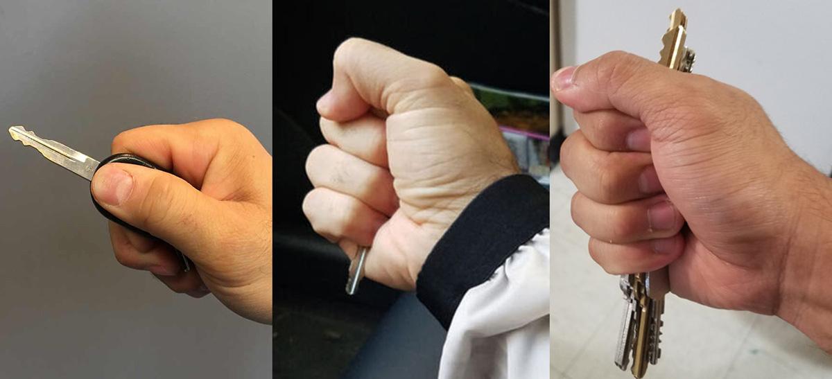 Những cách cầm đúng để tự vệ bằng chìa khóa. Ảnh: Mindful Defense.