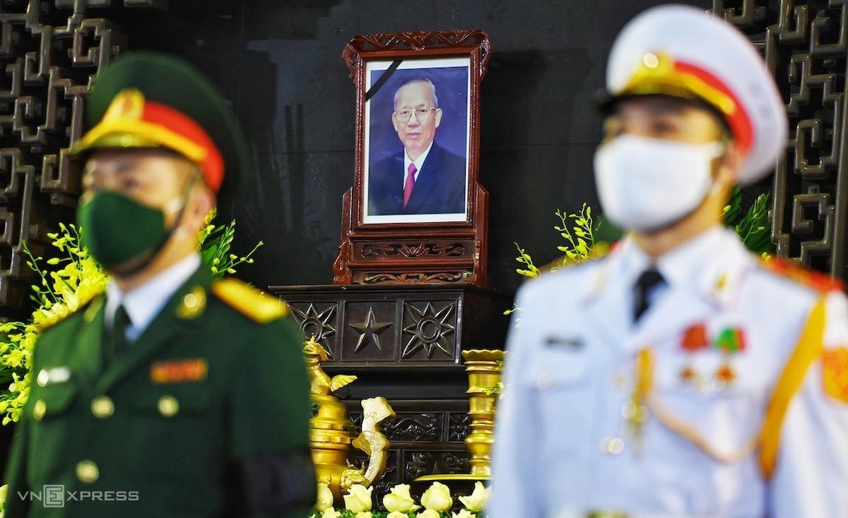 Tại Hà Nội, lễ viếng nguyên Phó thủ tướng Trương Vĩnh Trọng được tổ chức tại Nhà tang lễ Quốc gia, số 5 Trần Thánh Tông. Ảnh: Giang Huy