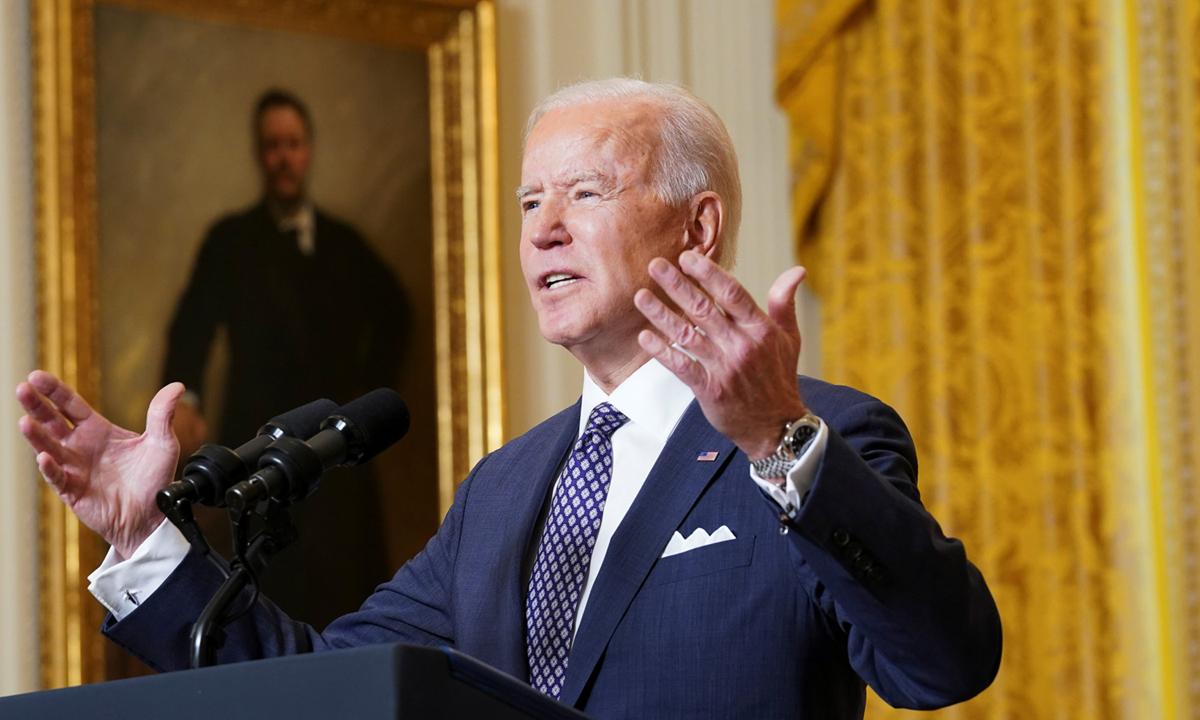 Tổng thống Joe Biden phát biểu trong Hội nghị An ninh Munich trực tuyến từ Nhà Trắng hôm 19/2. Ảnh: Reuters.