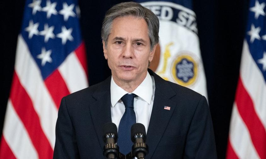 Blinken phát biểu tại Bộ Ngoại giao Mỹ hôm 4/2. Ảnh: AFP.