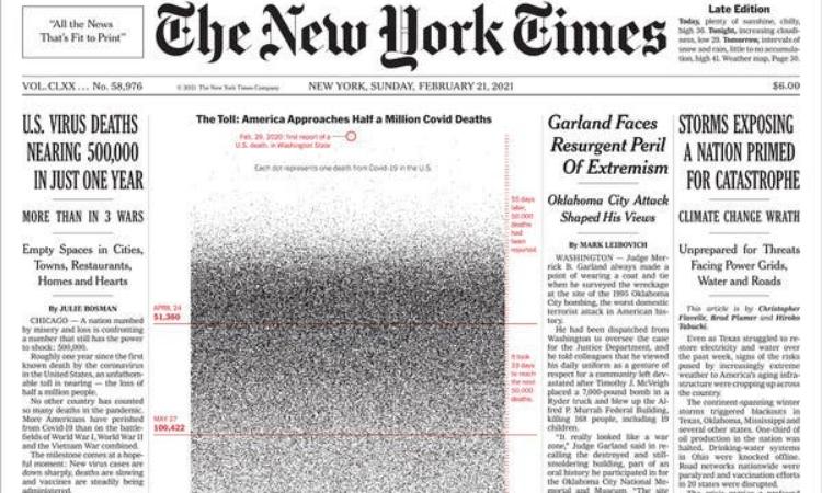 New York Times in 500.000 chấm đen trên trang nhất hôm 21/2. Ảnh: NYT.