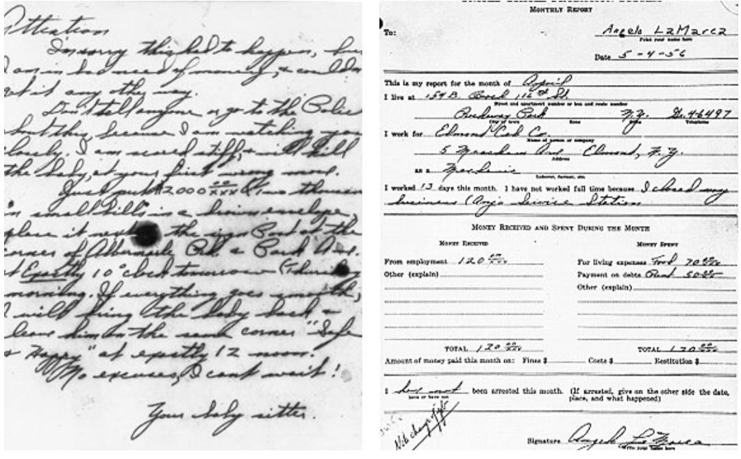 Mẫu chữ đòi chuộc (trái) và mẫu chữ lưu của Angelo LaMarca. Ảnh: FBI