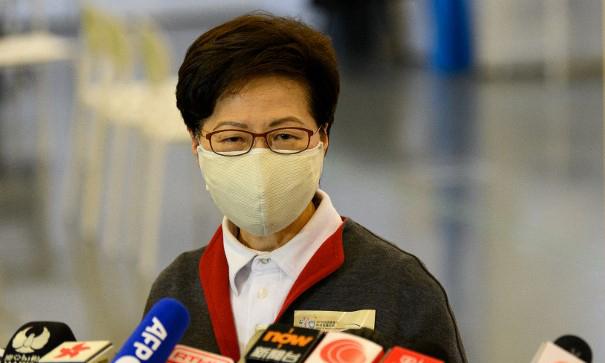 Trưởng đặc khu Hong Kong Carrie Lam phát biểu trong cuộc họp báo tại đặc khu hôm 22/2. Ảnh: AFP.