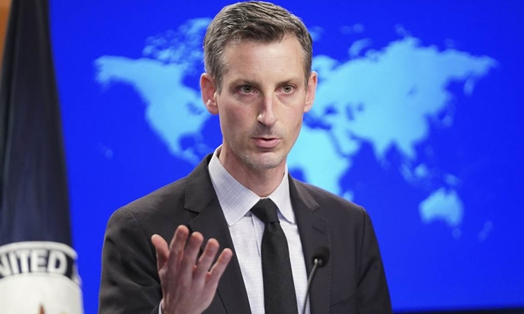 Người phát ngôn Bộ Ngoại giao Mỹ Ned Price tại thủ đô Washington hôm 17/2. Ảnh: AFP.