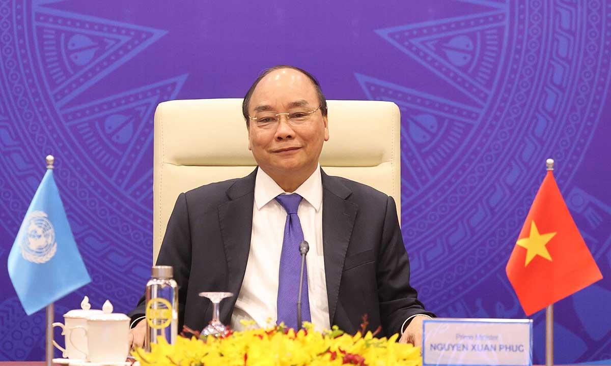 Thủ tướng Nguyễn Xuân Phúc tại phiên thảo luận trực tuyến của Hội đồng Bảo an Liên Hợp Quốc hôm nay. Ảnh: Bộ Ngoại giao.