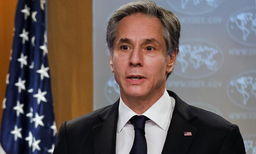 Ngoại trưởng Blinken họp báo hồi cuối tháng 1. Ảnh: AFP.