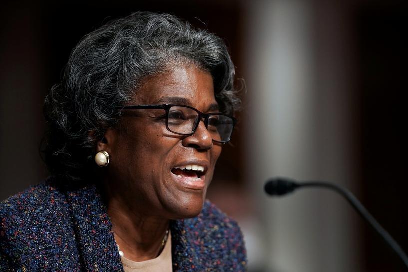 Linda Thomas-Greenfield điều trần trước thượng viện tại thủ đô Washington hồi tháng trước. Ảnh: Reuters.
