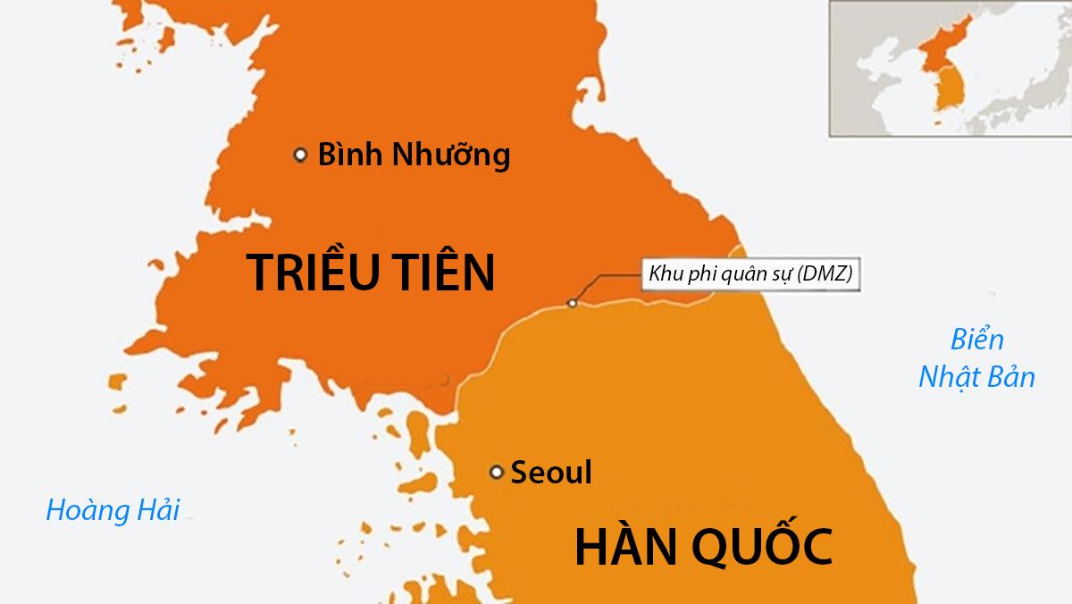 Vị trí Khu phi quân sự trên bán đảo Triều Tiên. Đồ họa: Al Jazeera.