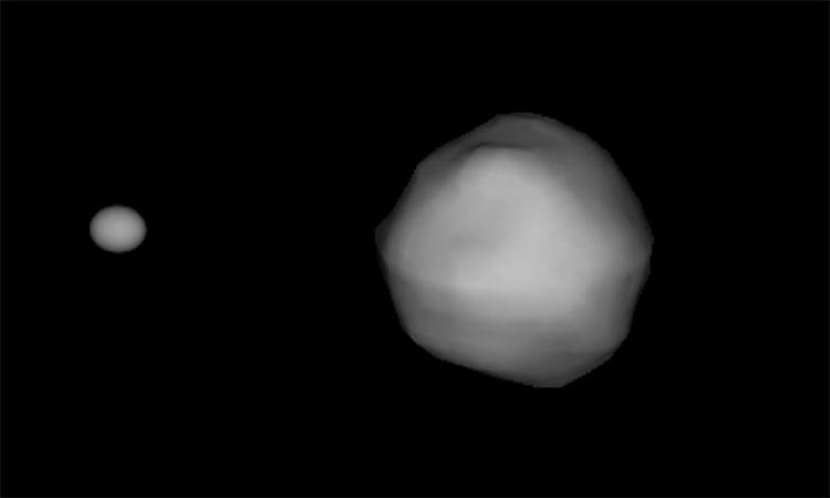 Mô phỏng hình dạng và so sánh kích thước của hai tiểu hành tinh trong hệ thống Didymos. Ảnh: NASA.