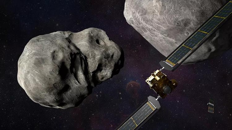 Mô phỏng tàu DART lao tới hệ thống tiểu hành tinh Didymos. Ảnh: Johns Hopkins APL/Steve Gribben.
