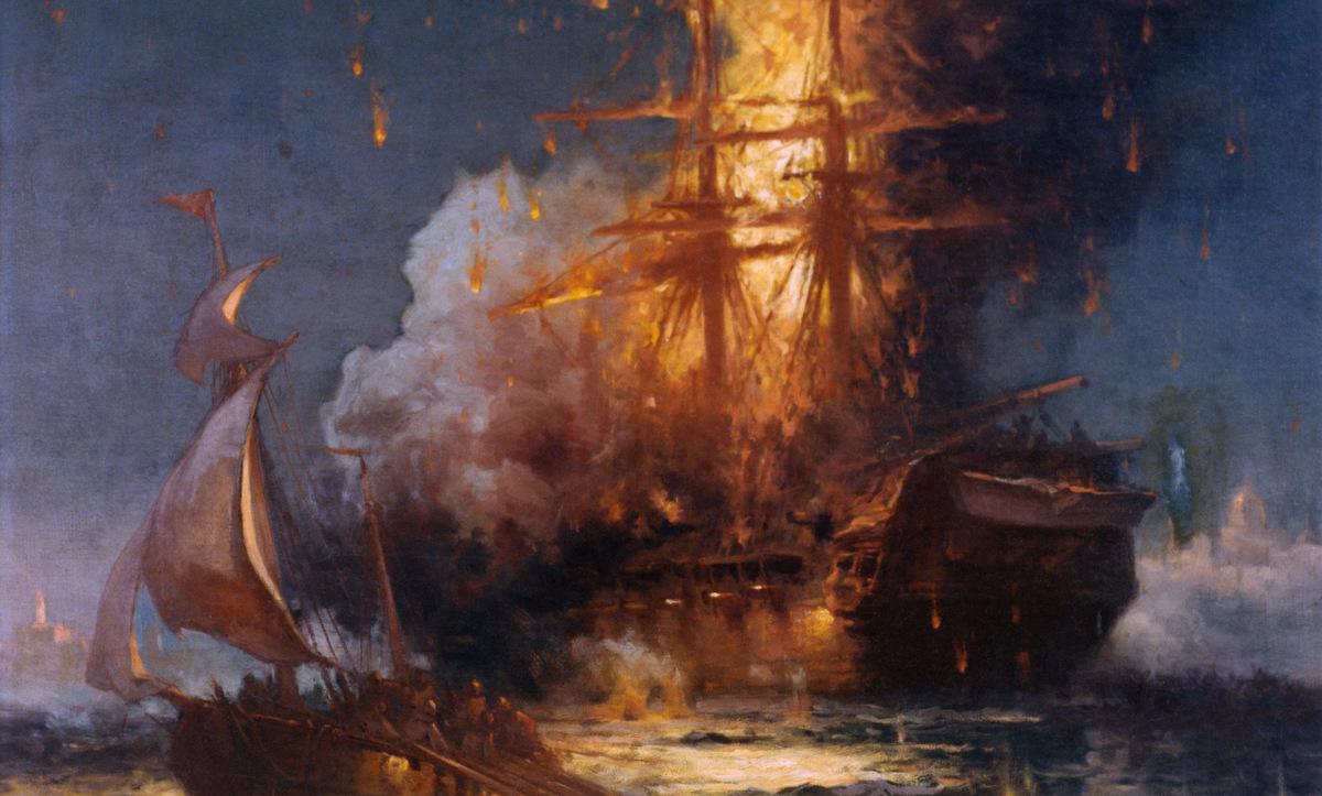 USS Philadelphia bị phóng hỏa đêm 16/2/1804. Ảnh: Wikipedia.