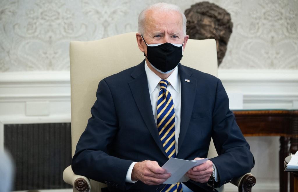 Tổng thống Mỹ Joe Biden họp với thành viên Hạ viện và Thượng viện tại Nhà Trắng hôm 24/2. Ảnh: AFP