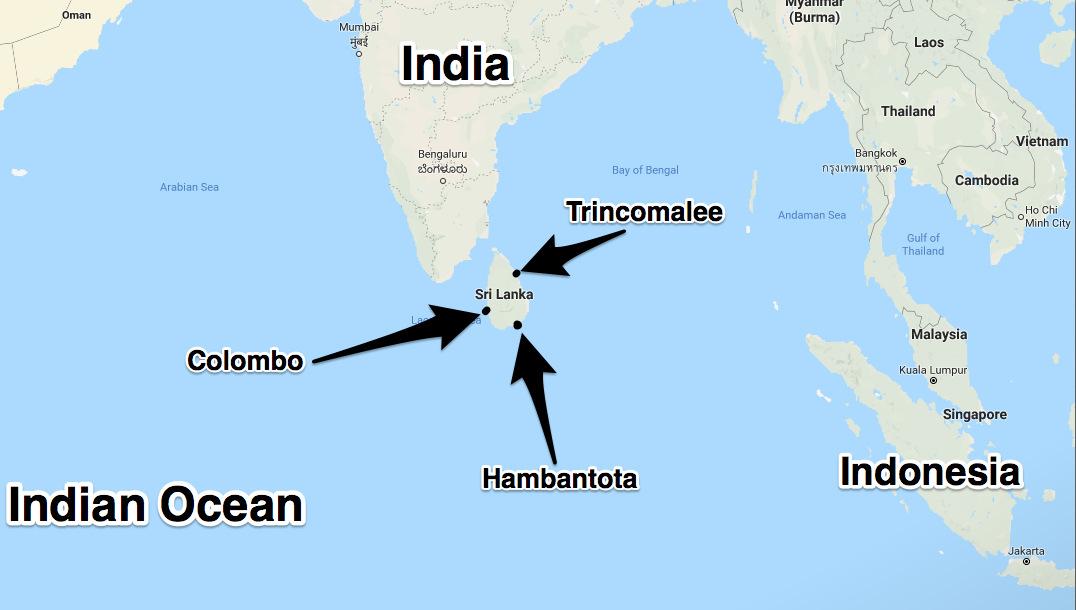 Vị trí cảng Hambantota trên Ấn Độ Dương. Đồ họa: Google Maps.