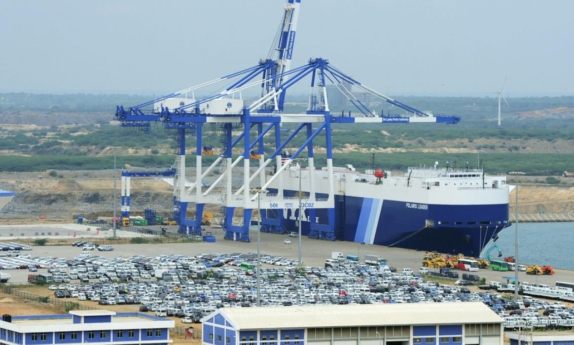 Một góc cảng Hambantota hồi năm 2017. Ảnh: AFP.