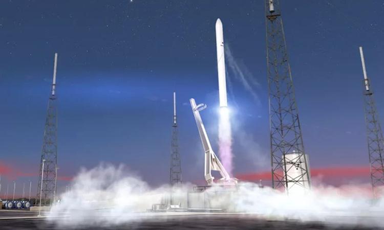 Minh họa tên lửa Terran 1 của Relativity Space phóng lên không gian. Ảnh: Relativity Space.