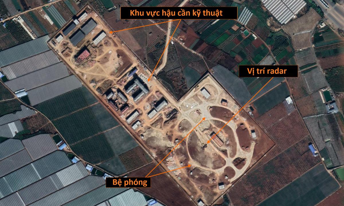 Vị trí trận địa phòng không tại thành phố Mông Tự. Ảnh: Google Earth.