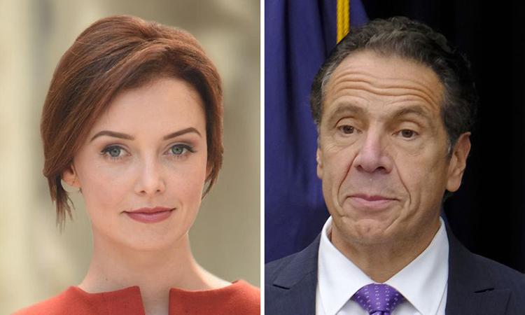 Thống đốc New York Andrew Cuomo (phải) và cựu trợ lý Lindsey Boylan. Ảnh: NY Daily News.