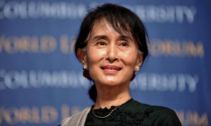 Cố vấn Nhà nước Myanmar Aung San Suu Kyi tại một sự kiện ở Đại học Columbia, New York, Mỹ, hồi tháng 9/2012. Ảnh: AFP.