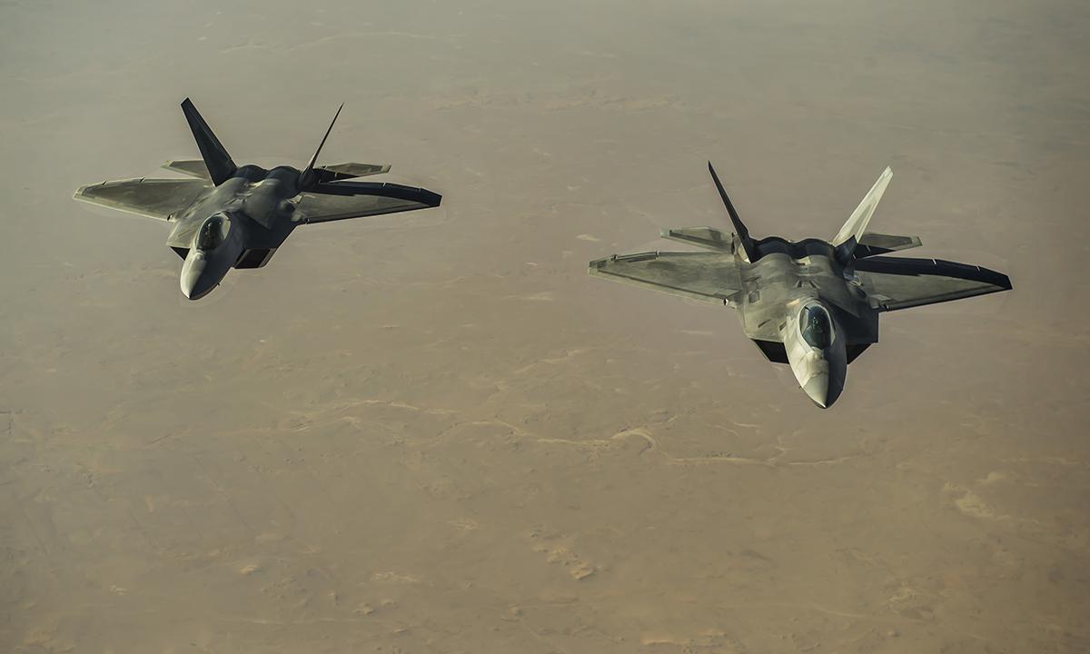 Tiêm kích F-22 của Mỹ hoạt động trên vùng trời Syria, tháng 8/2017. Ảnh: USAF.
