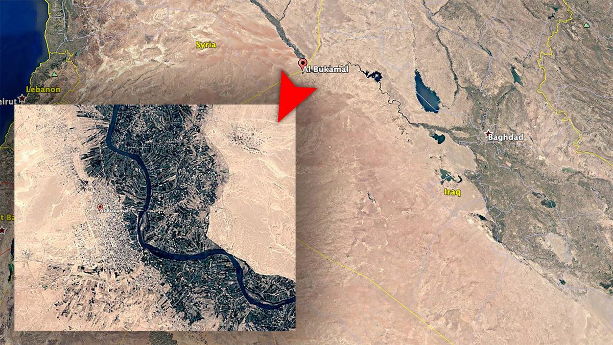 Vị trí Al Bukamal, một trong những địa điểm có thể bị Mỹ không kích tối 25/2. Ảnh: Google Maps.
