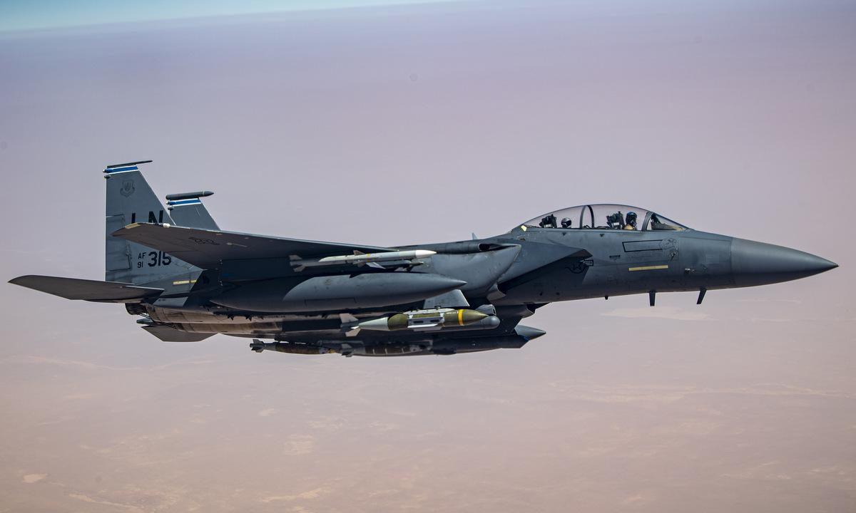 Tiêm kích F-15E Mỹ tuần tra tại Trung Đông cuối năm 2020. Ảnh: USAF.
