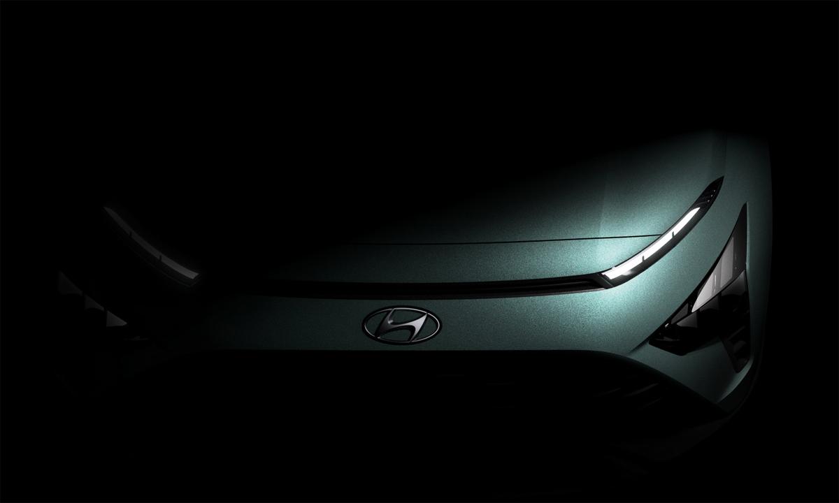 Mẫu xe mới hé lộ đôi chút về thiết kế, với kiểu đèn pha mắt hí kết nối bằng một khe gió nhỏ. Ảnh: Hyundai