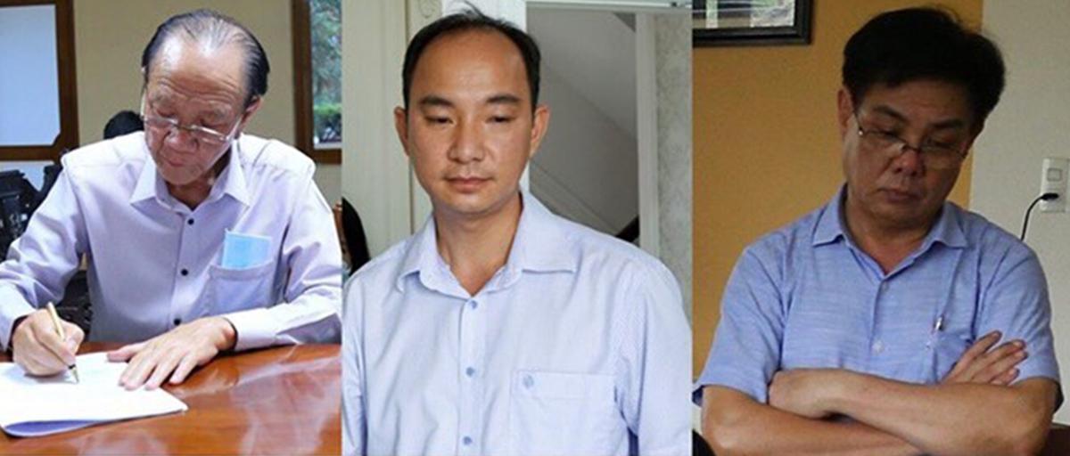 Ông Nguyễn Văn Minh (trái) và 2 đồng phạm bị bắt hồi tháng 4/2020. Ảnh: Dương Bình.