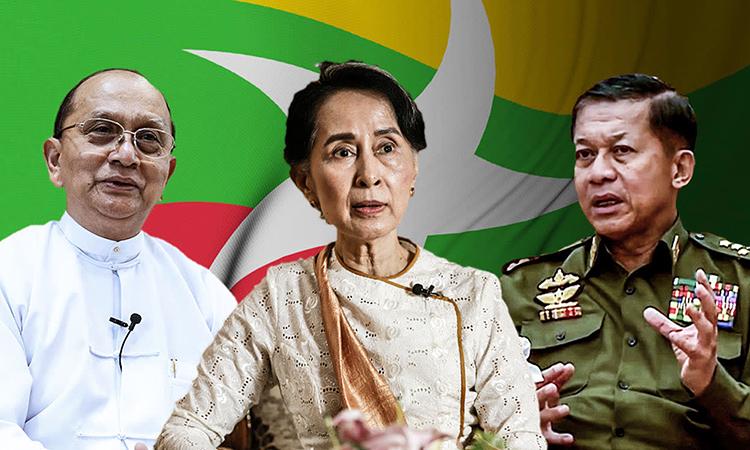 Cựu tổng thống Thein Sein (trái), lãnh đạo chính phủ dân sự Aung San Suu Kyi (giữa) và Thống tướng Min Aung Hlaing. Ảnh: Nikkei Asia.