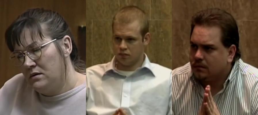 Sybil Padgett (trái), Patrick Alexander (giữa), và Kevin Ouelette tại tòa. Ảnh: Mugshots.