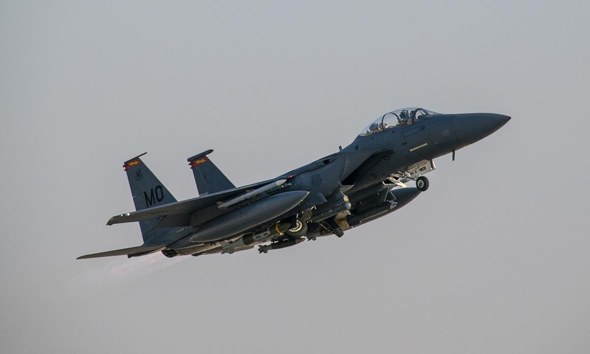 Tiêm kích F-15E của Mỹ hoạt động tại Trung Đông, tháng 2/2020. Ảnh: USAF.