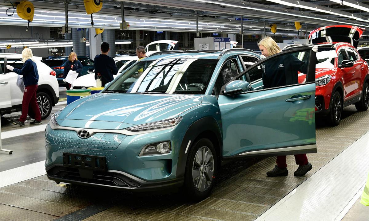 Mẫu Kona EV tại một nhà máy của Hyundai. Ảnh: Hyundai