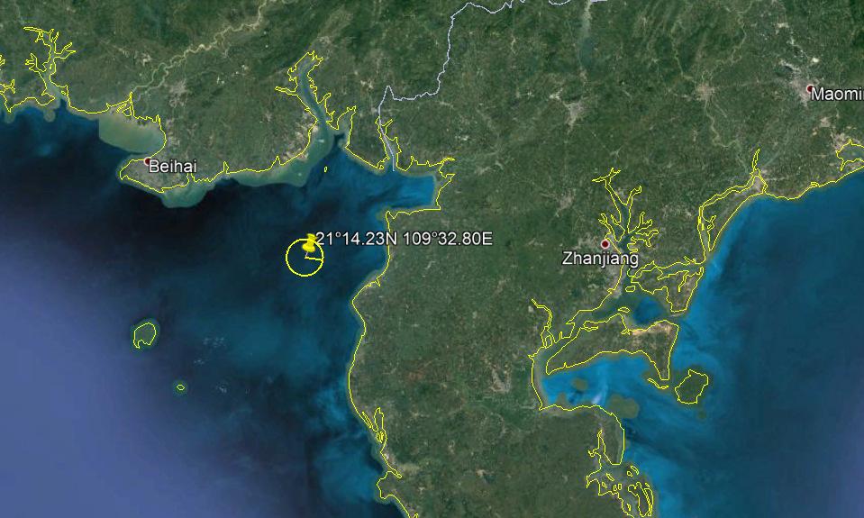 Vị trí diễn tập ở cách bờ biển bán đảo Lôi Châu khoảng 20 km về phía tây. Đồ họa: Google Earth.
