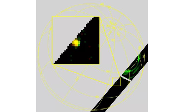 Thiên thạch (đốm màu vàng, phóng to) và cực quang (xanh lá) trên sao Mộc. Ảnh: SWRI.