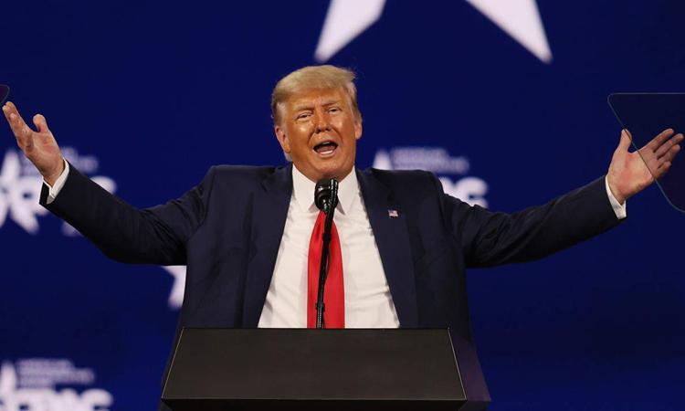 Cựu tổng thống Mỹ Donald Trump phát biểu tại Hội nghị Hành động Chính trị Bảo thủ (CPAC) ở thành phố Orlando, bang Florida hôm 28/2. Ảnh: Reuters.