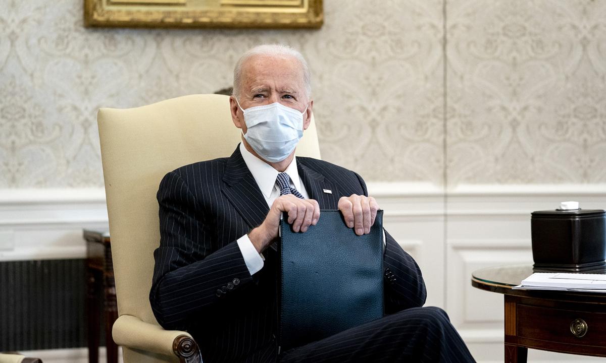 Tổng thống Joe Biden trong cuộc họp ở Nhà Trắng hôm 3/2. Ảnh: NYTimes.