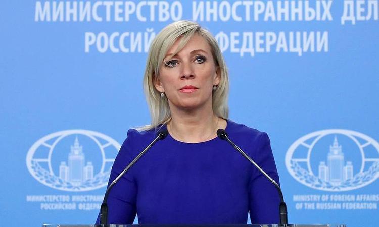 Phát ngôn viên Bộ Ngoại giao Nga Maria Zakharova tại cuộc họp báo ở Moskva năm 2019. Ảnh: Tass.