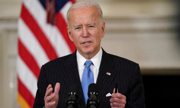 Tổng thống Mỹ Joe Biden phát biểu về phản ứng trước Covid-19 của chính quyền tại Nhà Trắng ngày 2/3. Ảnh: Reuters.