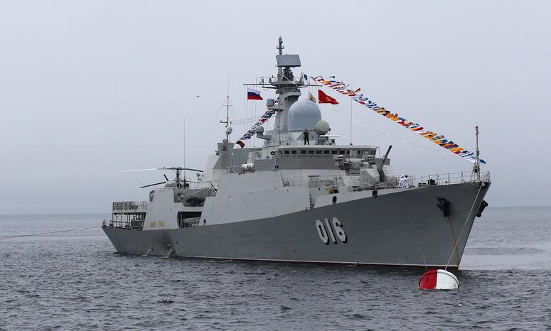 Tàu 016 Quang Trung tham gia duyệt binh hải quân tại Nga năm 2019. Ảnh: VL.ru.