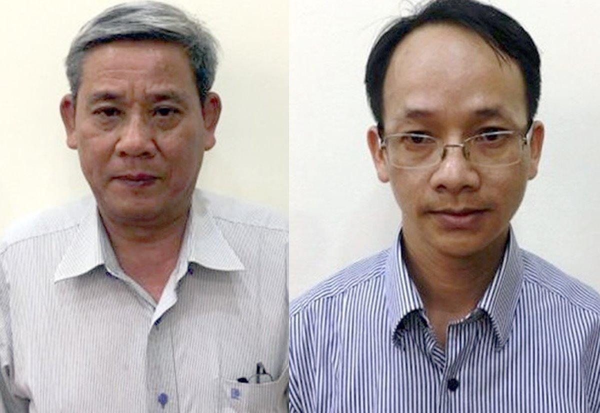 Ông Lê Văn Thanh (trái) và Nguyễn Thanh Chương. Ảnh: Bộ Công an.